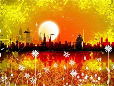 Picture Of Utopian Orange Skyline